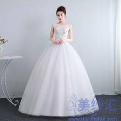 新娘结婚公主双肩圆领齐地韩式蕾丝显瘦修身女10112001819 图片色 均码