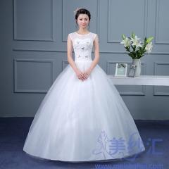 唯美双肩款齐地婚纱C101001D018 图片色 均码
