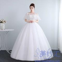 新娘结婚公主蕾丝圆领齐地气质显瘦修身女冬季10112001821 图片色 均码