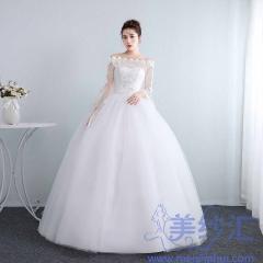 齐地婚纱新娘夏季长袖一字肩优雅蕾丝简约纱显瘦10112001823 图片色 均码