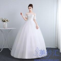 新娘结婚气质喇叭袖齐地韩式蕾丝冬季显瘦修身女10112001827 图片色 均码