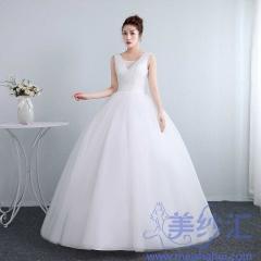婚纱夏季新娘结婚双肩齐地韩式修身显瘦10112001828 图片色 均码