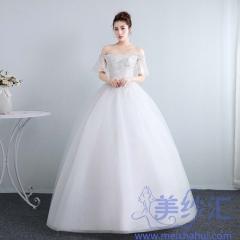 新娘结婚公主一字肩小纱袖齐地韩式蕾丝显瘦修身女10112001830 图片色 均码