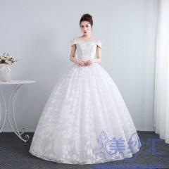 新娘结婚公主一字肩齐地大气蕾丝冬季显瘦修身女10112001814 图片色 均码