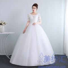 夏韩式中袖新娘结婚齐地简约显瘦公主10112001829 图片色 均码