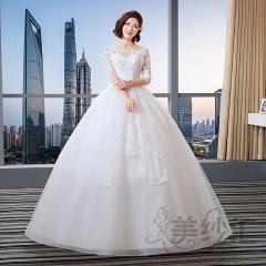 花纹图案中袖圆领新娘结婚当天嫁衣齐地婚纱绑带款101101C215 图片色 均码