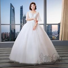 花纹图案双肩新娘结婚当天嫁衣齐地婚纱Z101101C220 图片色 均码