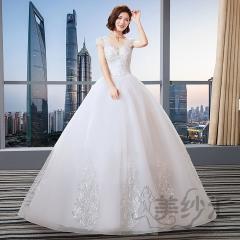 显瘦花纹包肩版新娘结婚当天嫁衣齐地婚纱Z101101C260 图片色 均码