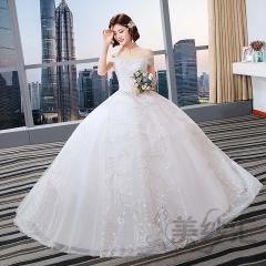 一字肩唯美新娘结婚当天嫁衣齐地婚纱绑带款101101C277 图片色 均码