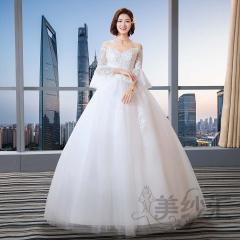 米白色一字肩新娘结婚当天嫁衣齐地婚纱绑带款101101C211 图片色 均码