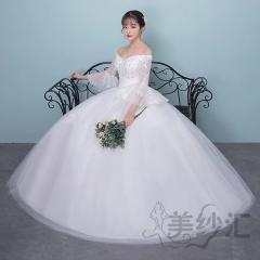 一字肩喇叭袖新娘结婚当天嫁衣齐地婚纱绑带款101101121511 图片色 均码