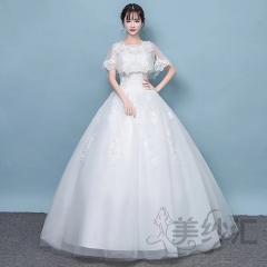 双肩包肩新娘结婚当天嫁衣齐地婚纱绑带款101101121518 图片色 均码
