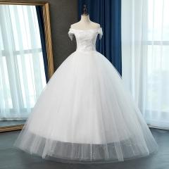 唯美一字肩新娘结婚当天嫁衣齐地婚纱绑带款10108311284 图片色 均码