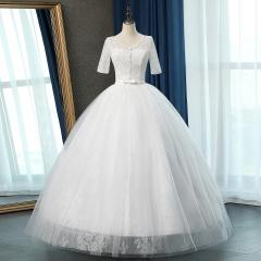 半袖显瘦新娘结婚当天嫁衣齐地婚纱绑带10108311288 图片色 均码
