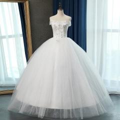 一字肩花纹新娘结婚当天嫁衣齐地婚纱绑带10108311289 图片色 均码