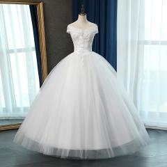 一字肩新娘结婚当天嫁衣齐地婚纱绑带C101083112810 图片色 均码