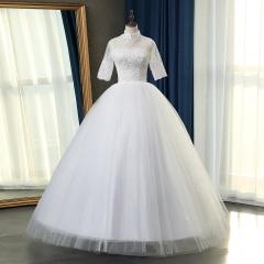半袖立领新娘结婚当天嫁衣齐地婚纱绑带101083112816 图片色 均码