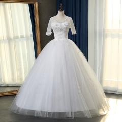 V领半袖齐地婚纱绑带C101083112817 图片色 均码
