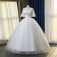 新款双肩新娘结婚当天嫁衣齐地婚纱绑带101083112818 图片色 均码