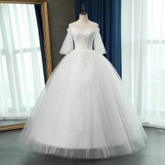 一字肩新娘结婚当天嫁衣齐地婚纱绑带101083112819 图片色 均码