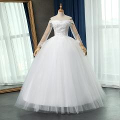 长袖一字肩新娘结婚当天嫁衣齐地婚纱绑带101083112821 图片色 均码