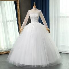 长袖双肩新娘结婚当天嫁衣齐地婚纱绑带101083112822 图片色 均码