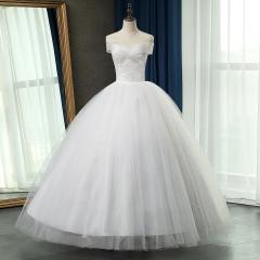 一字肩新娘结婚当天嫁衣齐地婚纱绑带101083112823 图片色 均码