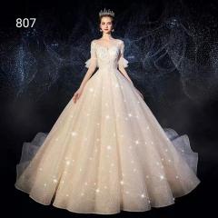 唯美显瘦影楼拍照礼服馆专用款拖尾婚纱W1031010219-23 图片色 均码