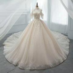 唯美显瘦影楼拍照礼服馆专用款拖尾婚纱W1031010219-24 图片色 均码