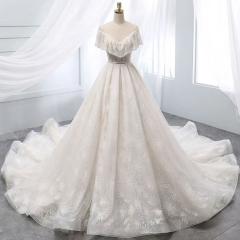唯美显瘦影楼拍照礼服馆专用款拖尾婚纱W1031010219-36 图片色 均码