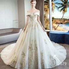 唯美显瘦影楼拍照礼服馆专用款拖尾婚纱W1031010219-40 图片色 均码