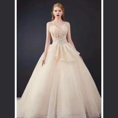 唯美仙气抹胸造型齐地婚纱w1011200410-1 图片色 均码