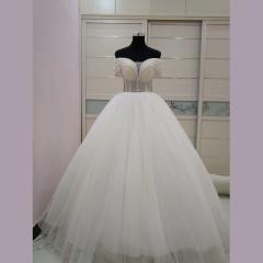 手工钉珠一字肩简约气质款新娘结婚当天穿齐地婚纱1011200425-2 图片色 均码