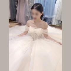 尚美~香槟色齐地唯美一字肩绑带婚纱0425-1 图片色 均码
