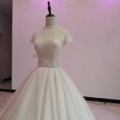 高领包肩手工钉珠唯美显瘦款结婚当天穿拖尾绑带婚纱W1031200512-1 原图 均码