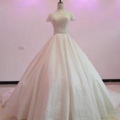 高领包肩手工钉珠唯美显瘦款结婚当天穿拖尾绑带婚纱W1031200512-1 图片色 均码