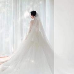 抹胸款简约气质公主范拖尾绑带婚纱W1031200512-2 原图 均码