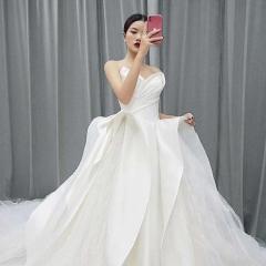 抹胸款简约缎面公主范拖尾绑带婚纱W1031200512-3 图片色 均码