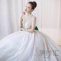 新娘结婚当天嫁衣拖尾婚纱绑带款显瘦唯美W103035110907 图片色 均码