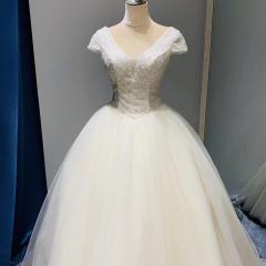 包肩新娘结婚当天嫁衣蓬蓬裙齐地婚纱W1010371224-20 图片色 均码