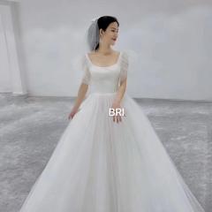双肩显瘦齐地婚纱新娘结婚当天嫁衣绑带W1011320112-2 图片色 均码