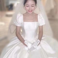 泡泡袖拖尾婚纱新娘结婚当天嫁衣绑带W1031320112-3 图片色 均码
