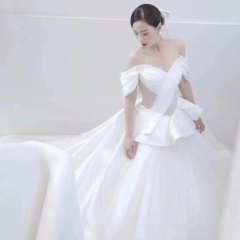 一字肩拖尾婚纱新娘结婚当天嫁衣绑带W1031320112-4 图片色 均码