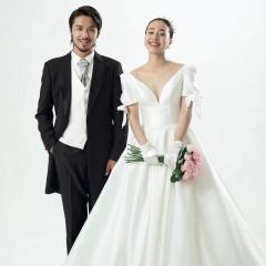 深V小拖尾婚纱新娘结婚当天嫁衣绑带W1030370114-1 图片色 均码