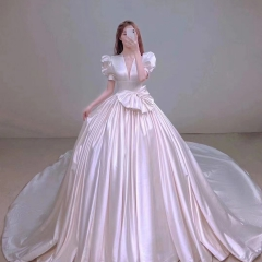 泡泡袖新娘结婚当天嫁衣拖尾婚纱W1030480118-1 图片色 均码