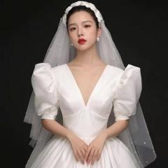 今生情缘~泡泡袖深V新娘结婚嫁衣齐地婚纱0303-15 图片色 均码