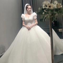 短袖款新娘结婚当天嫁衣拖尾婚纱W1030480307-01 图片色 均码