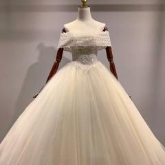 一字肩新娘结婚当天嫁衣齐地婚纱W1010310313-25 图片色 均码