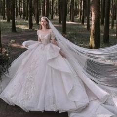 手工制作新娘结婚当天嫁衣拖尾婚纱W1030970324-08 图片色 均码