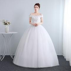 新娘结婚公主一字肩齐地蕾丝夏季显瘦修身女W1011201806 图片色 均码